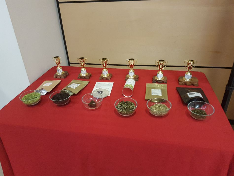 A table with trophy-winning tea varieties, winners of this year's audience taste test at the Toronto Tea Festival.