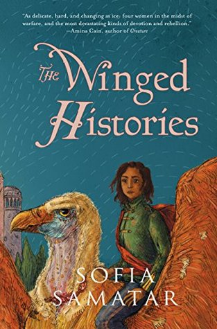 "The cover of ""The Winged Histories"", showing a dark-skinned woman riding a large bird."