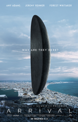 """The movie poster for Arrival, an adaption of Ted Chiang's novella """"Story of Your Life"""""""